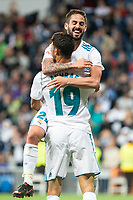 "Real Madrid Achraf Hakimi and Francisco Roman ""Isco"" celebrating a goal during La Liga match between Real Madrid and Celta de Vigo at Santiago Bernabeu Stadium in Madrid, Spain. May 12, 2018. (ALTERPHOTOS/Borja B.Hojas) /NORTEPHOTOMEXICO"