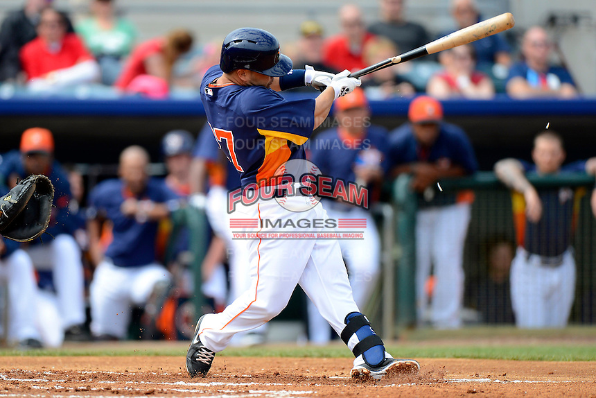 Houston Astros second baseman Jose Altuve #27 breaks his bat during a Spring Training game against the St. Louis Cardinals at Osceola County Stadium on March 1, 2013 in Kissimmee, Florida.  The game ended in a tie at 8-8.  (Mike Janes/Four Seam Images)