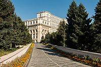 Entrance to the Palace of Parliament, the largest office building in the world after the Pentagon, Bucharest, Romania