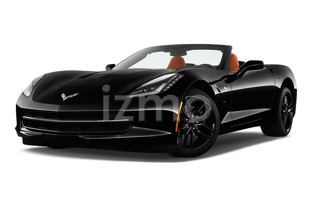 Stock pictures of low aggressive front three quarter view of a 2019 Chevrolet Corvette Stingray Convertible 2LT 2 Door Convertible