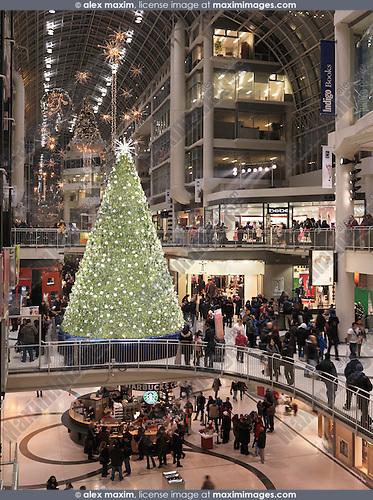 Swarovski Christmas Tree at Toronto Eaton Centre shopping mall during Christmas season. Toronto, Ontario, Canada.