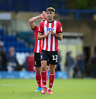 Lincoln City's Ellis Chapman applauds the fans at the final whistle<br /> <br /> Photographer Andrew Vaughan/CameraSport<br /> <br /> The EFL Sky Bet League One - Wycombe Wanderers v Lincoln City - Saturday 7th September 2019 - Adams Park - Wycombe<br /> <br /> World Copyright © 2019 CameraSport. All rights reserved. 43 Linden Ave. Countesthorpe. Leicester. England. LE8 5PG - Tel: +44 (0) 116 277 4147 - admin@camerasport.com - www.camerasport.com
