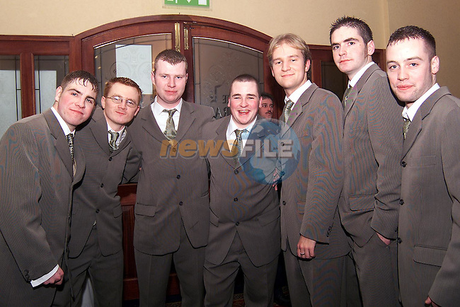 Ciaran Kenny, Paddy Keegan, Chris O'Dowd, Stuart Carolan, John Healy, Neil Clarke and Warren Gaffney at the Dunnes Stores Christmas party in the Bridgeford..Picture: Paul Mohan/Newsfile