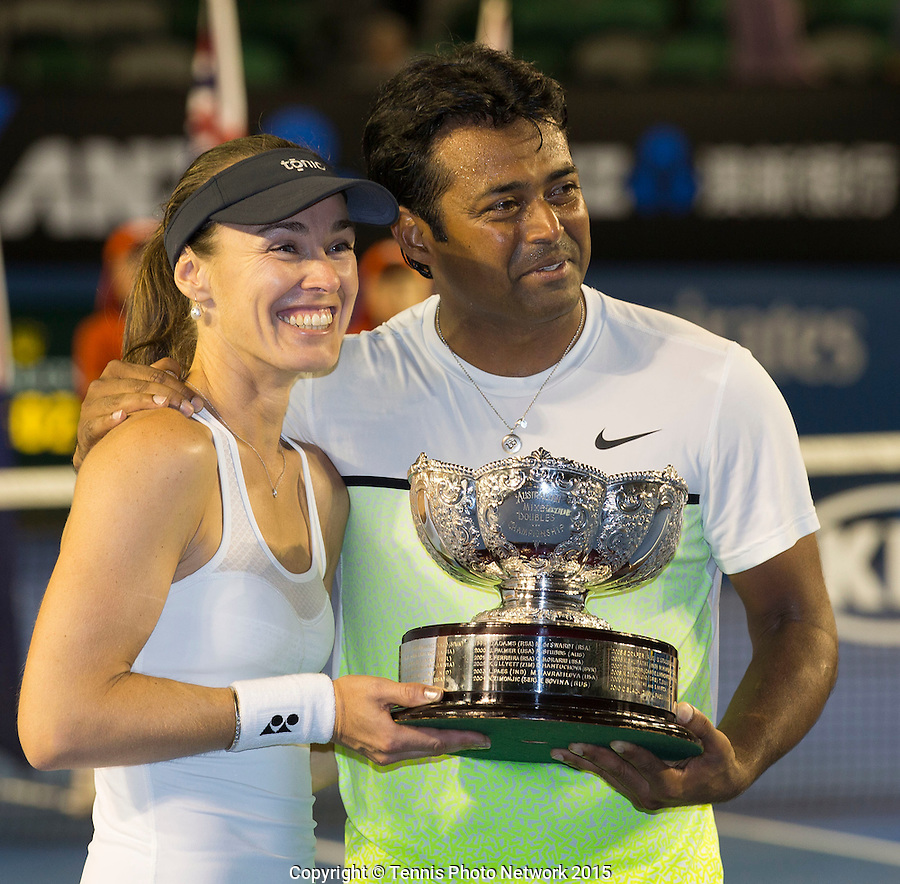 LEANDER PAES (IND) MARTINA HINGIS (SUI)<br /> <br /> Tennis - Australian Open 2015 - Grand Slam -  Melbourne Park - Melbourne - Victoria - Australia  - 1 February 2015. <br /> &copy; AMN IMAGES