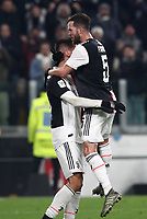 Calcio, Coppa Italia round 8 : Juventus - AS Roma, Turin, Allianz Stadium, January 22, 2020.<br /> Juventus' Rodrigo Bentancur (l) celebrates after scoring  with his teammate Miralem Pjanic (r) during the Italian Cup football match between Juventus and Roma at the Allianz stadium in Turin, January 22, 2020.<br /> UPDATE IMAGES PRESS/Isabella Bonotto