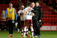 New Bradford City Manager, Simon Grayson, congratulates his players at the end of the match after securing a 1-1 draw at Charlton during Charlton Athletic vs Bradford City, Sky Bet EFL League 1 Football at The Valley on 13th February 2018