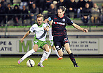 2015-10-31 /voetbal / seizoen 2015 - 2016 / Dessel Sport - KSK Heist / Kevin Janssens (l) (Dessel Sport) in duel met Bart Webers (r) (Heist)