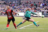 Rochester, NY - Saturday July 09, 2016: Lynn Williams scores, Andi Tostanoski during a regular season National Women's Soccer League (NWSL) match between the Western New York Flash and the Seattle Reign FC at Frontier Field.