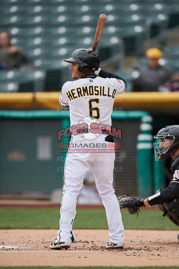 Michael Hermosillo (6) of the Salt Lake Bees bats against the Albuquerque Isotopes at Smith's Ballpark on April 8, 2018 in Salt Lake City, Utah. Albuquerque defeated Salt Lake 11-4. (Stephen Smith/Four Seam Images)