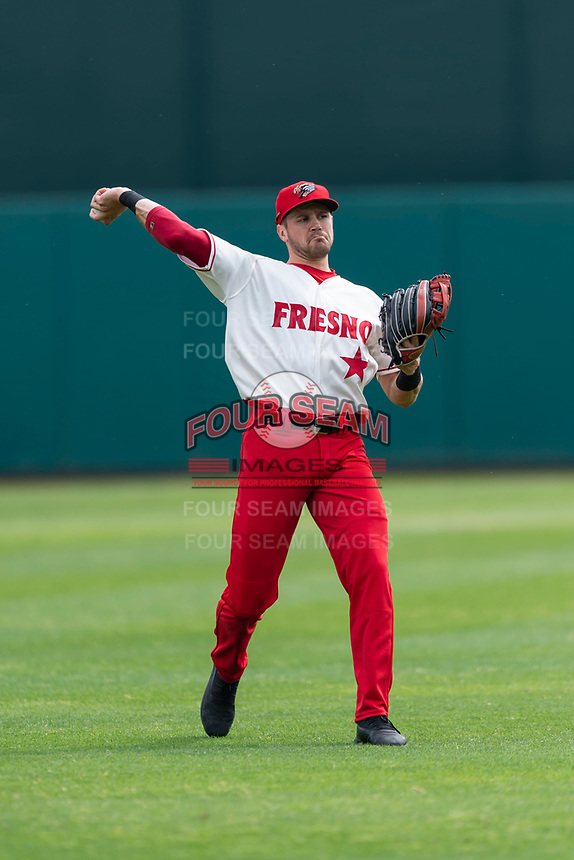 Fresno Grizzlies right fielder Alec Keller (9) warms up before a game against the Reno Aces at Chukchansi Park on April 8, 2019 in Fresno, California. Fresno defeated Reno 7-6. (Zachary Lucy/Four Seam Images)