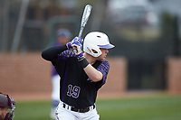 Nick Niarchos (19) of the High Point Panthers at bat against the North Carolina Central Eagles at Williard Stadium on February 28, 2017 in High Point, North Carolina. The Eagles defeated the Panthers 11-5. (Brian Westerholt/Four Seam Images)