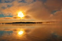 Fog on the Saint John River at sunrise, Near Mactaquac, New Brunswick, Canada