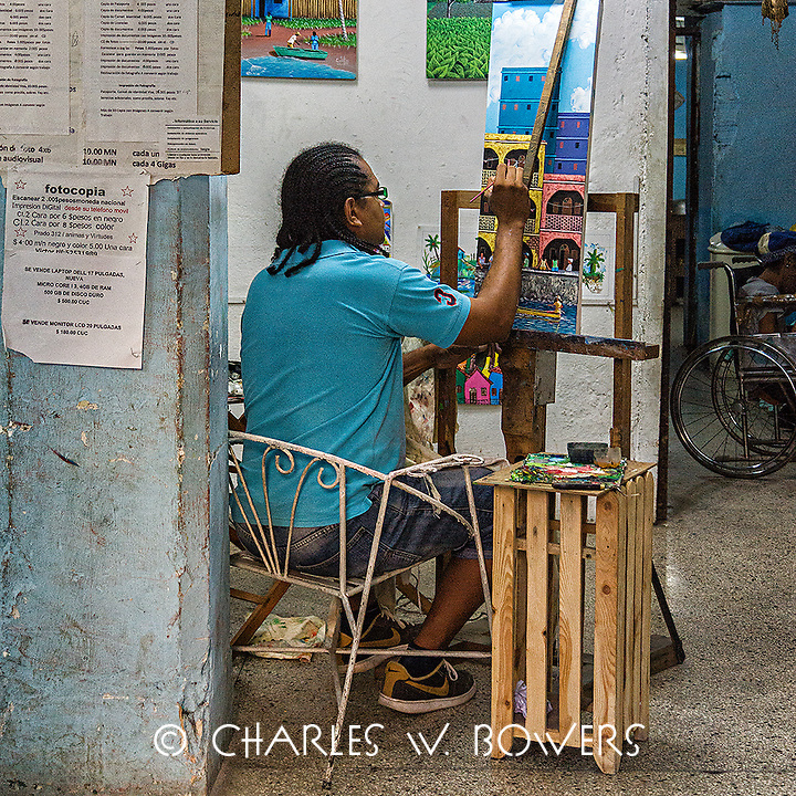Faces Of Cuba - Artist at work in his Havana studio.<br /> <br /> -Limited Edition of 50 prints.