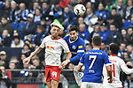 16.03.2019, VELTINS-Arena, Gelsenkirchen, GER, DFL, 1. BL, FC Schalke 04 vs RB Leipzig, DFL regulations prohibit any use of photographs as image sequences and/or quasi-video<br /> <br /> im Bild Kopfball / Kopfballduell Kevin Kampl (#44, RB Leipzig) Sutat Serdar (#8, FC Schalke 04) <br /> <br /> Foto © nph/Mauelshagen