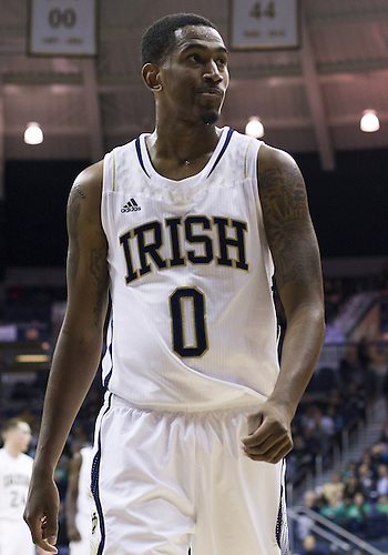 December 21, 2012:  Notre Dame guard Eric Atkins (0) during NCAA Basketball game action between the Notre Dame Fighting Irish and the Niagara Purple Eagles at Purcell Pavilion at the Joyce Center in South Bend, Indiana.  Notre Dame defeated Niagara 89-67.