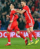 (L-R) Tom Lawrence of Wales celebrates his goal with team mate Marley Watkins during the international friendly soccer match between Wales and Panama at Cardiff City Stadium, Cardiff, Wales, UK. Tuesday 14 November 2017.