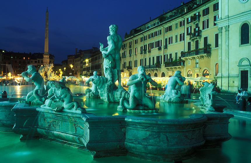Italy, Rome, Piazza Navona,  Fontana del Moro,  remodelled in 1653 by Bernini
