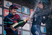 Alexis Ryan (USA/Canyon-SRAM) spraying sweetness over the podium after finishing 2nd<br /> <br /> Omloop Het Nieuwsblad 2018<br /> Gent &rsaquo; Meerbeke: 196km (BELGIUM)