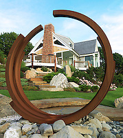 One end of the house seen through the steel arc of a steel sculpture by French artist Bernar Venet