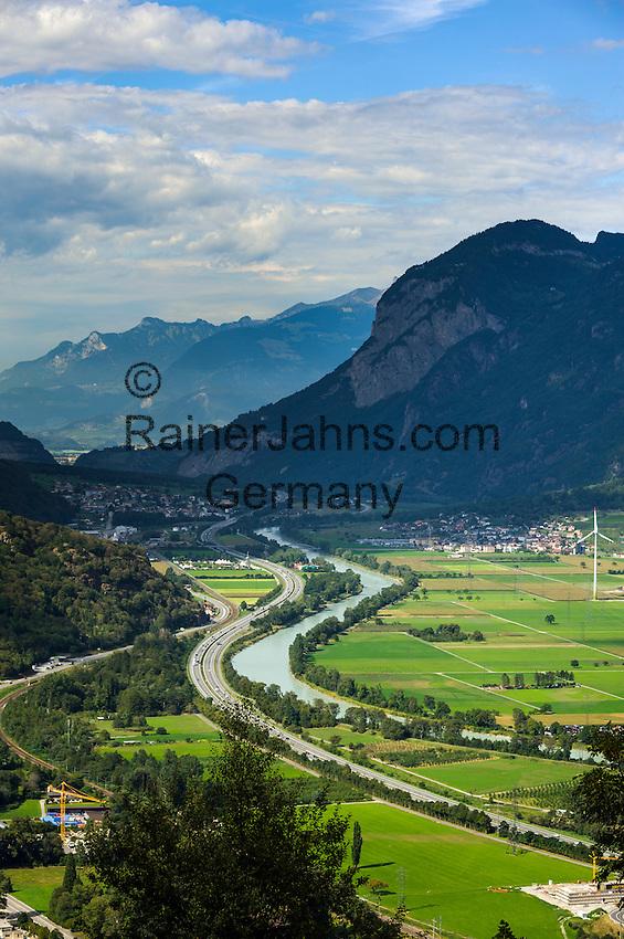Switzerland, Canton Valais, near Martigny: Rhône Valley | Schweiz, Kanton Wallis, bei Martigny: das Rhonetal