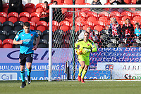 Alex Cairns of Fleetwood Town collects the ball for Fleetwood Town during the Sky Bet League 1 match between Doncaster Rovers and Fleetwood Town at the Keepmoat Stadium, Doncaster, England on 17 February 2018. Photo by Leila Coker / PRiME Media Images.