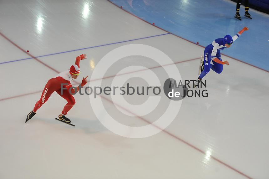 SCHAATSEN: GRONINGEN: Sportcentrum Kardinge, 17-01-2015, KPN NK Sprint, Marrit Leenstra, Letitia de Jong, ©foto Martin de Jong