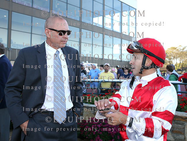 Jockey Jeremy Rose (R) discusses the Cotillion Stakes with trainer Anthony Dutrow after Havre de Grace with Rose in the saddle, held off Blind Luck to win the $750,000 Grade II race at Parx Racing in Bensalem, PA on Saturday October 2, 2010.  Photo By Bill Denver/EQUI-PHOTO.