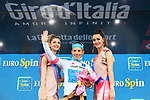 Miguel Angel Lopez (COL) Astana Pro Team retains the young riders Maglia Bianca at the end of Stage 17 of the 2018 Giro d'Italia, The Franciacorta Stage running 155km from Riva del Garda to Iseo, Italy. 23rd May 2018.<br /> Picture: LaPresse/Gian Mattia D'Alberto | Cyclefile<br /> <br /> <br /> All photos usage must carry mandatory copyright credit (&copy; Cyclefile | LaPresse/Gian Mattia D'Alberto)