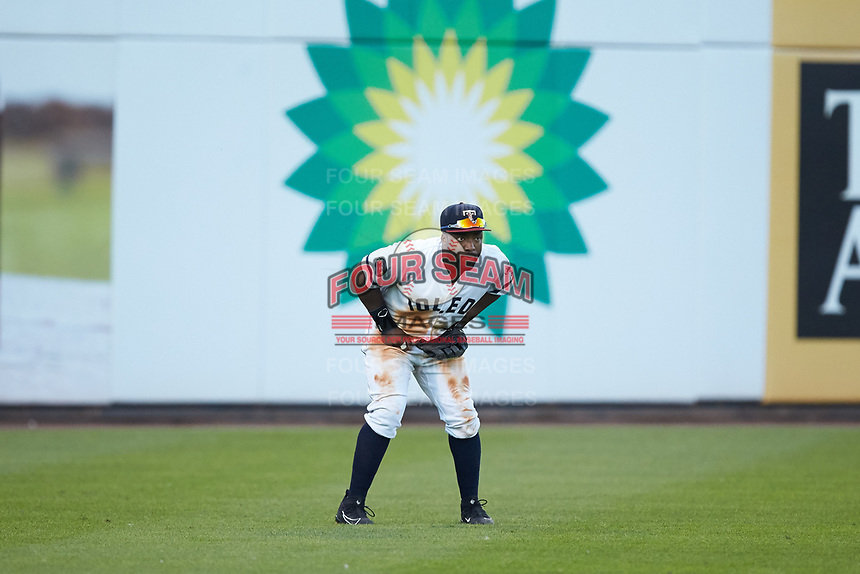 Toledo Mud Hens left fielder Christin Stewart (20) on defense against the Louisville Bats at Fifth Third Field on June 16, 2018 in Toledo, Ohio. The Mud Hens defeated the Bats 7-4.  (Brian Westerholt/Four Seam Images)