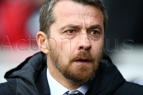 17th March 2018, Craven Cottage, London, England; EFL Championship football, Fulham versus Queens Park Rangers; Fulham Manager Slavisa Jokanovic looks on from the touchline before kick off