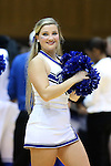 30 October 2014: Duke cheerleader. The Duke University Blue Devils hosted the Limestone College Saints at Cameron Indoor Stadium in Durham, North Carolina in an NCAA Women's Basketball exhibition game. Duke won the game 100-33.