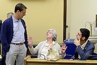 Roma, 5 Agosto 2015<br /> Claudio Fava, Rosy Bindi, Francesco D'Uva.<br /> Camera dei Deputati.<br /> La commissione antimafia presenta alla stampa la relazione sui giornalisti minacciati