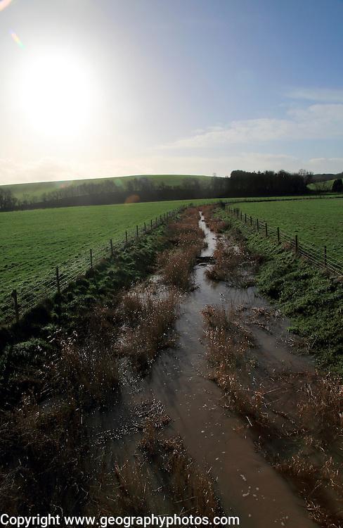 River Kennet flowing across fields towards Swallowhead Springs, West Kennet, Wiltshire, England, UK