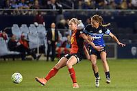 Kansas City, Kansas - Saturday April 16, 2016: Western New York Flash defender Alanna Kennedy (8) defends against FC Kansas City midfielder Mandy Laddish (7) in the second half at Children's Mercy Park. Western New York won 1-0.