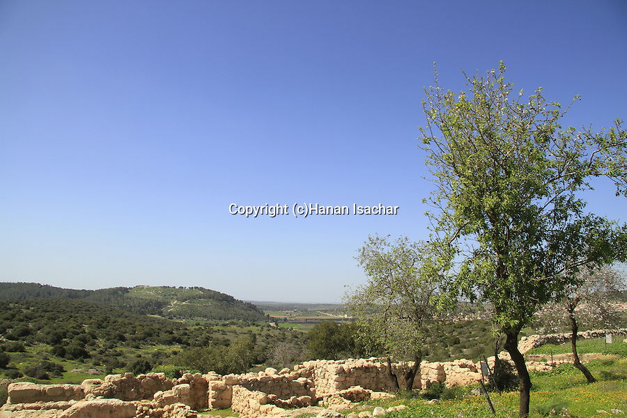 Israel, Shephelah, Haelah fortress at Khirbet Qeiyafa overlooking Haelah valley, Tel Azekah is in the background