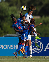 Bradenton, FL - Sunday, June 10, 2018: Melchie Dumonay, Reilyn Turner during a U-17 Women's Championship match between the United States and Haiti at IMG Academy.  USA defeated Haiti 3-2 to advance to the finals.