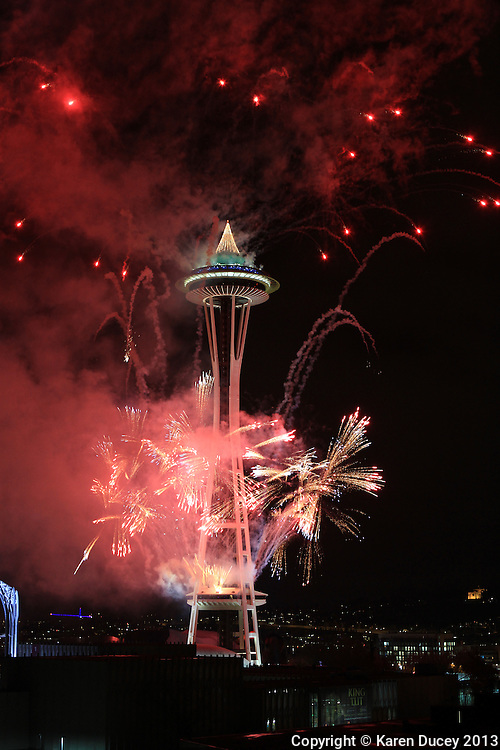 New Years fireworks at the Space Needle in Seattle, Washington. (© Karen Ducey Photography)