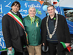 Grand Marshall Patsy Coleman, mayor of Ardee Michael Farrelly and Mayor of Nettuno in Italy Alessio Chiaveta which is twinned with Ardee pictured at the St. Patrick's day parade. Photo: Colin Bell/pressphotos.ie
