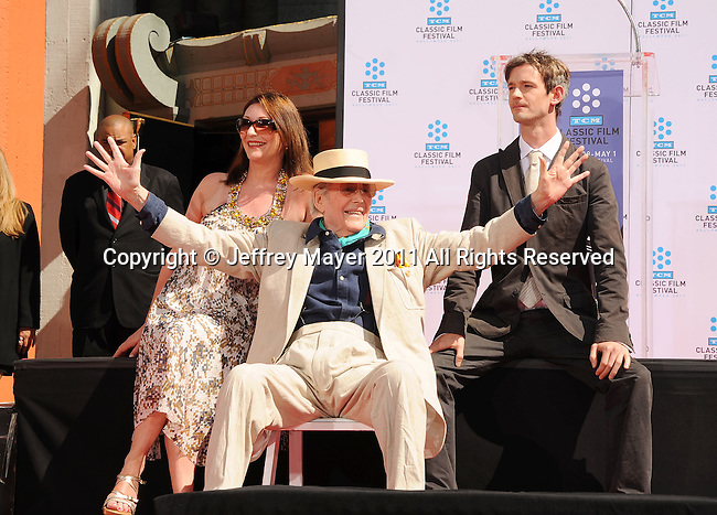 HOLLYWOOD, CA - APRIL 30: Kate O'Toole, Peter O'Toole and Lorcan O'Toole attend the TCM Classic Film Festival honors Actor Peter O'Toole with hand and foot ceremony held at Grauman's Chinese Theatre on April 30, 2011 in Hollywood, California.