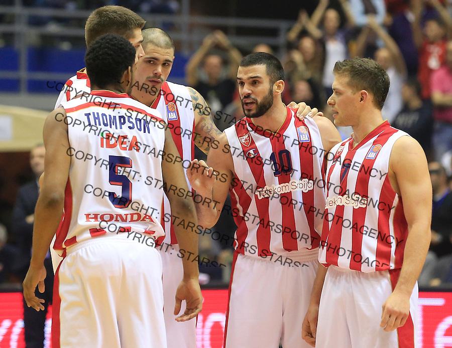 Kosarka ABA League season 2015-2016<br /> Crvena Zvezda v Partizan<br /> \from left Ryan Thompson Marko Tejic Maik Zirbes Branko Lazic and Gal Mekel<br /> Beograd, 03.11.2015.<br /> foto: Srdjan Stevanovic/Starsportphoto&copy;