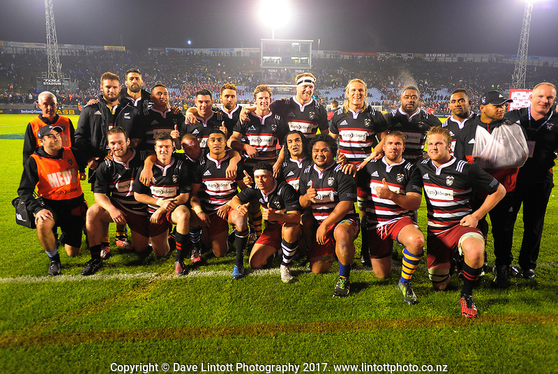 The Barbarians pose for a group photo after the 2017 DHL Lions Series rugby union match between the NZ Provincial Barbarians and British & Irish Lions at Toll Stadium in Whangarei, New Zealand on Saturday, 3 June 2017. Photo: Dave Lintott / lintottphoto.co.nz
