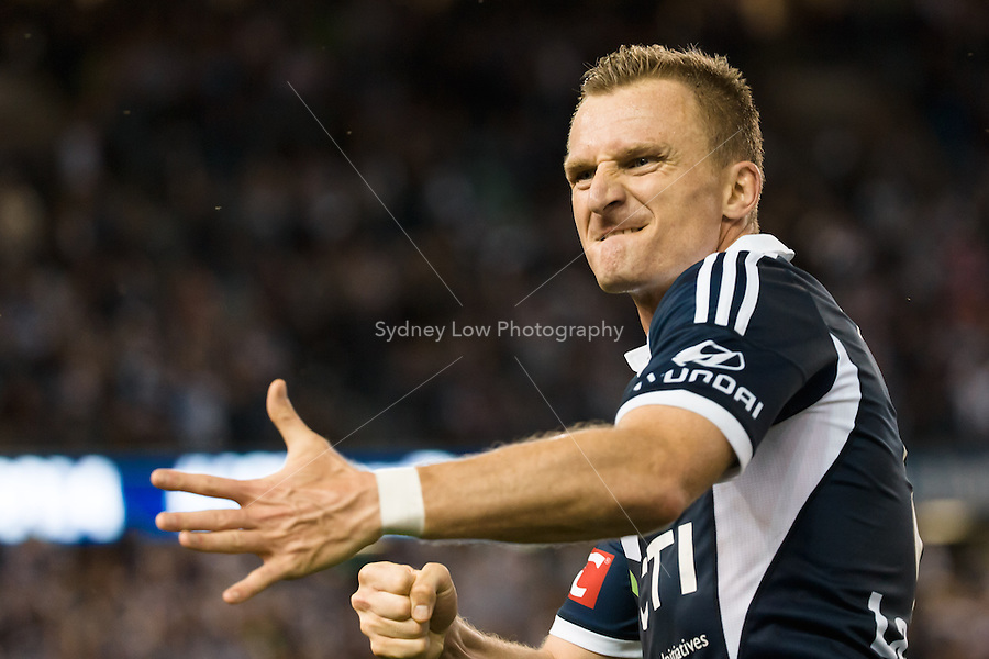 MELBOURNE 25 Oct 2014 – Besart BERISHA of the Victory celebrates his goal in the round 3 match between Melbourne Victory and Melbourne City in the Australian Hyundai A-League 2014-15 season at Etihad Stadium, Melbourne, Australia.