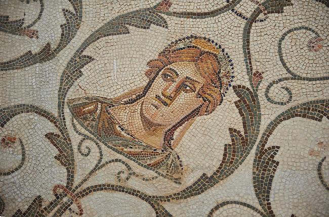 Detail picture of a Roman mosaics design depicting the Four Seasons, from the Maison de la Procession Dionysiaque, ancient Roman city of Thysdrus. 2nd century AD. El Djem Archaeological Museum, El Djem, Tunisia.