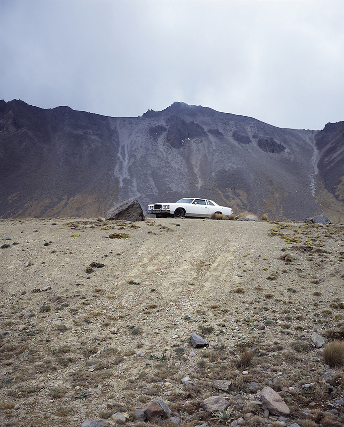 "Landscapes of tourism in Mexico. A car parked in the crater of the Nevado de Toluca volcano.  Toluca, Mexico. Exibited in the Salon Malafama as part of the ""Vacaciones"" series, Mexico City July, 2006"
