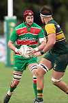 Michael McKeg looks to cut back inside, past Simon Marcel. Counties Manukau Premier Club rugby game between Pukekohe and Waiuku, played at Colin Lawrie Fields, Pukekohe on Saturday April 14th, 2018. Pukekohe won the game 35 - 19 after leading 9 - 7 at halftime.<br /> Pukekohe Mitre 10 Mega -Joshua Baverstock, Sione Fifita 3 tries, Cody White 3 conversions, Cody White 3 penalties.<br /> Waiuku Brian James Contracting - Lemeki Tulele, Nathan Millar, Tevta Halafihi tries,  Christian Walker 2 conversions.<br /> Photo by Richard Spranger
