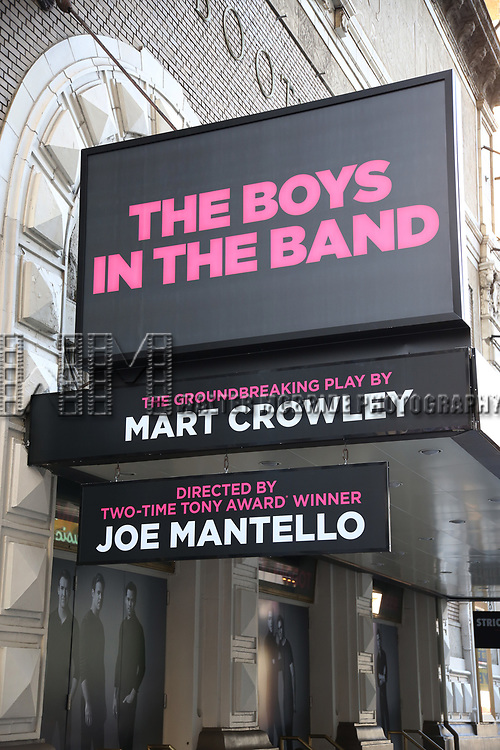 """Theatre Marquee unveiling for """"The Boys In The Band"""" starring Charlie Carver, Jim Parsons, Zachary Quinto, Matt Bomer, Andrew Rannells, Robin De Jesús, Brian Hutchison, Michael Benjamin Washington, and Tuc Watkins under the direction of Joe Mantello on February 27, 2018 at the Booth Theatre in New York City."""
