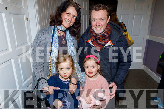 Twins Lily and Daisy O'Sullivan with mom and dad Nikki Roberts and Brenda O'Sullivan from Killorglin ready to enjoy the Cinderella Panto in the KDYS Killorglin on Sunday.