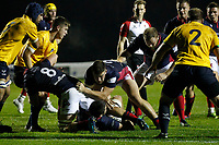 James Malcolm of London Scottish watches over Lewis Wynne during the Championship Cup match between London Scottish Football Club and Yorkshire Carnegie at Richmond Athletic Ground, Richmond, United Kingdom on 4 October 2019. Photo by Carlton Myrie / PRiME Media Images