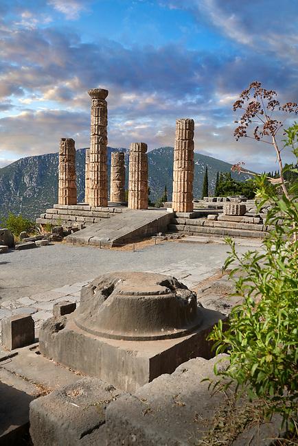 Doric coloums of Delphi Temple of Apollo. and ruins of Delphi archaeological site, Delphi, Greece