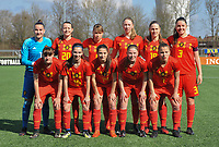 20180326 - ZALTBOMMEL , THE NETHERLANDS : Belgian team with Femke Bastiaen (1)   Romy Camps (3)   Zenia Mertens (4)   Stephanie Pirotte (5)   Karlijn Knapen (7)   Aster Janssens (8)   Lisa Petry (9)   Constance Brackman (14)   Tessa Wils (15)   Lea Cordier (19)   Hannah Eurlings (20)   pictured during the UEFA Women Under 17 Elite round game between Belgium WU17 and Romania WU17, on the second matchday in group 1 of the Uefa Women Under 17 elite round in The Netherlands , monday 26 th March 2018 . PHOTO SPORTPIX.BE    DIRK VUYLSTEKE